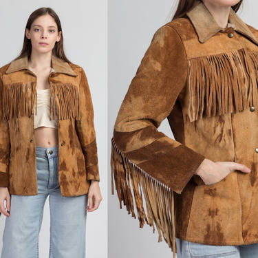 60s 70s Brown Suede Fringe Jacket - Men's XS, Women's Small | Vintage Sherpa Lined Juan Sebastian Boho Hippie Leather Coat by FlyingAppleVintage