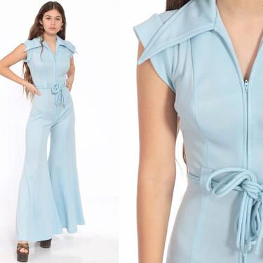 Bell Bottom Jumpsuit Pants 70s Baby Blue Boho 1970s Front Zip Disco Outfit Hippie Bohemian One Piece Vintage Pantsuit Extra Small xs xxs by ShopExile