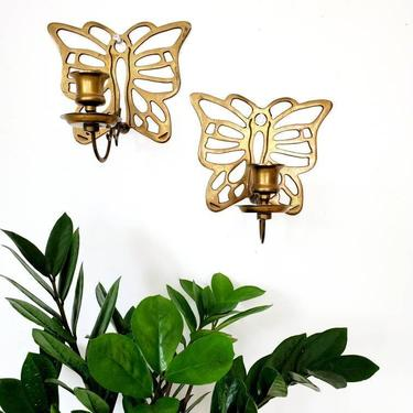 Vintage Brass Butterfly Wall Candleholder Sconce Set by pennyportland