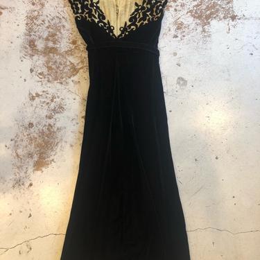 Incredible 1940s Yellow Illusion Mesh & Black Velvet Gown