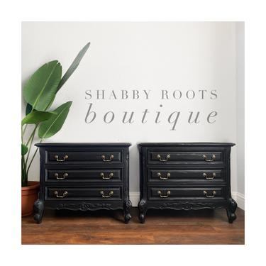 NEW! Set of Nightstands Black 3 drawer Nightstands modern Farmhouse rustic finish  - San Francisco CA by ShabbyRootsBoutique
