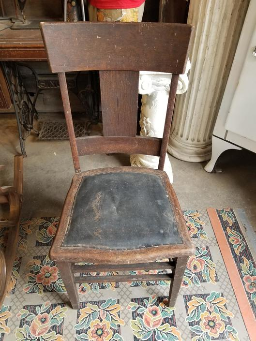 """Vintage Wood Chair with Leather Seat (18.5"""" from floor to seat height. 38.25"""" over all height)"""