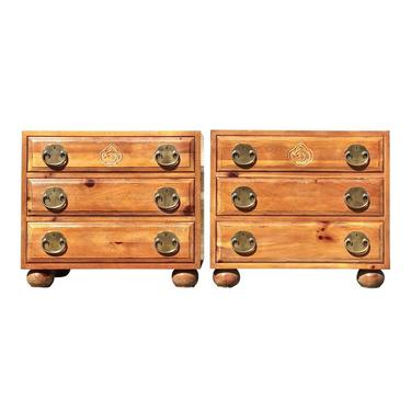 Pair of Henredon Pine Asian Inspired Nightstands by 2ndStoryTradingCo