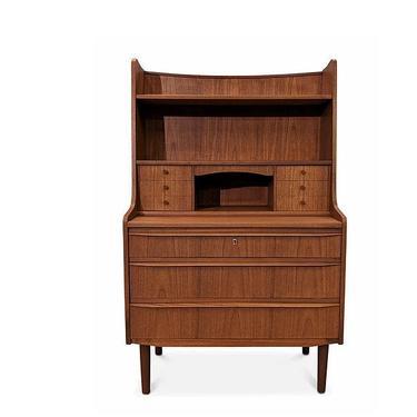 Vintage Danish Mid Century Teak Secretary Bookcase Desk - Guld by LanobaDesign