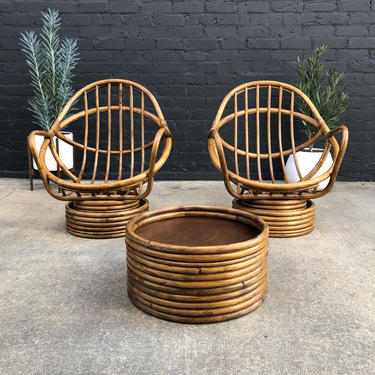 Set of Vintage Rattan Bamboo Swivel Rocking Chairs with Matching Ottoman by VintageSupplyLA