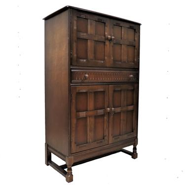 Drinks Cabinet   Vintage English Dark Oak Panel Front Cocktail Cabinet by PickeryPlace