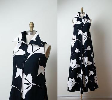Vintage Marimekko Dress 1970s Black White Fl Print Maxi By Femalehysteria