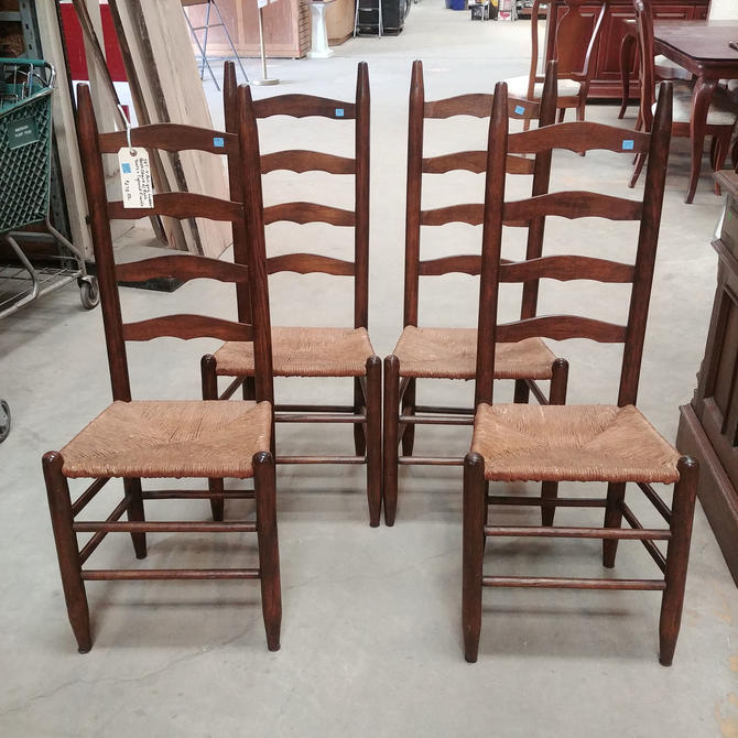 Set of Four Antique Ladderback Chairs