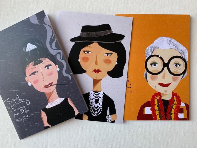 Fashion forward card set of 3 | stationary | words of wisdom and friendly  advice Iris Apfel - Coco Chanel - Audrey Hepburn by VioletredStudio