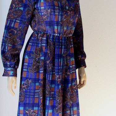 Vintage 80s Day dress Paisley Print Jewel Tones Elastic Waist Modest Dress by GraveyardVintage