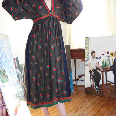 1960s-70s Dress w/ Embroidered Trim by ChessandtheSphinx