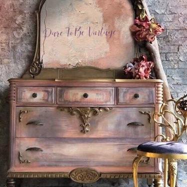 Vintage Painted Dresser - Hand Painted Dresser - Vintage Dresser Bedroom Dresser - Bedroom Furniture - Painted Furniture - Bohemian by DareToBeVintage