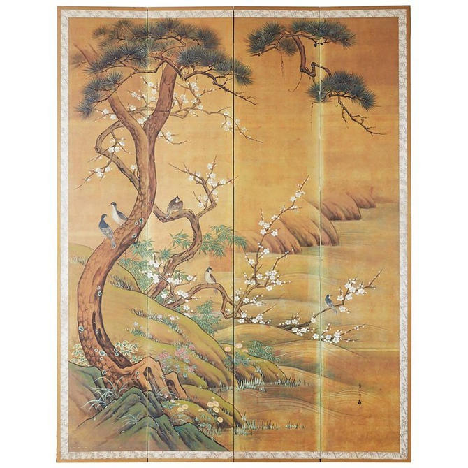 Japanese Edo Style Four-Panel Spring Landscape Screen by ErinLaneEstate