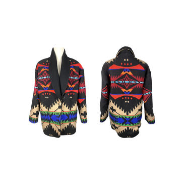Pendleton Jacket, Vintage Southwestern Coat, Boxy, Southwest Spirit, 60's Clothing, Western, Concho Button, Black, Ranchwear,Vintage Clothes by DakodaCo