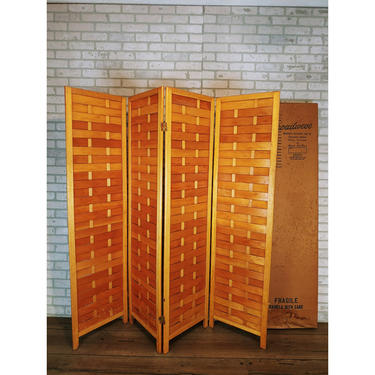 Broadweve  Modern's Exclusive Line of Decorator- Styled Floor Screen & Dividers 4 Panel Screen Room Divider Natural Wood Color by RedsRustyRelics