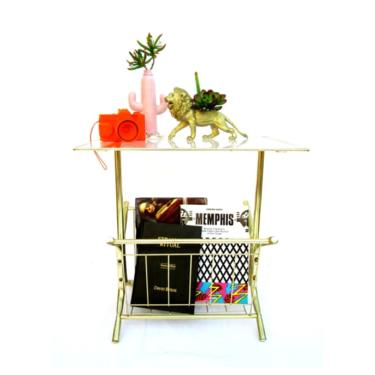 Mid-Century Modernist Brass & Glass Magazine Rack Side Table   Gold Tubular Metal PostModern Record Stand   N.O.S!!   Excellent Condition by ELECTRICmarigold