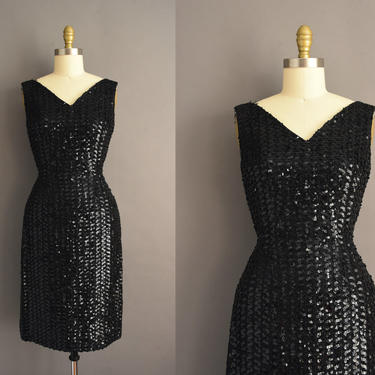 vintage 1950s   Gorgeous Black Full Sequin Sparkly Holiday Cocktail Party Wiggle Dress   Small   50s dress by simplicityisbliss