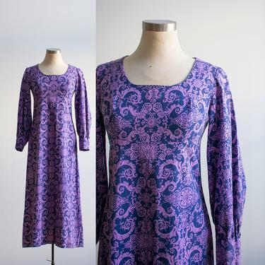 Vintage Cotton Maxi Dress / 1970s Cotton Maxi Dress / Longsleeve Vintage Dress / 1970s Empire Waist Dress / 70s Does the Renaissannce Dress by milkandice