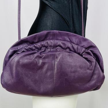Vintage 1980s Brio Purple Leather Convertible Clutch by timelesspieces