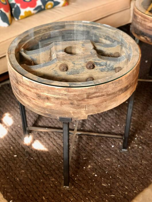 ANTIQUE INDUSTRIAL PULLEY SIDE TABLE