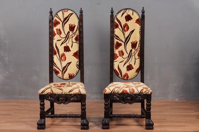 Floral Oak High-Back Throne Chair