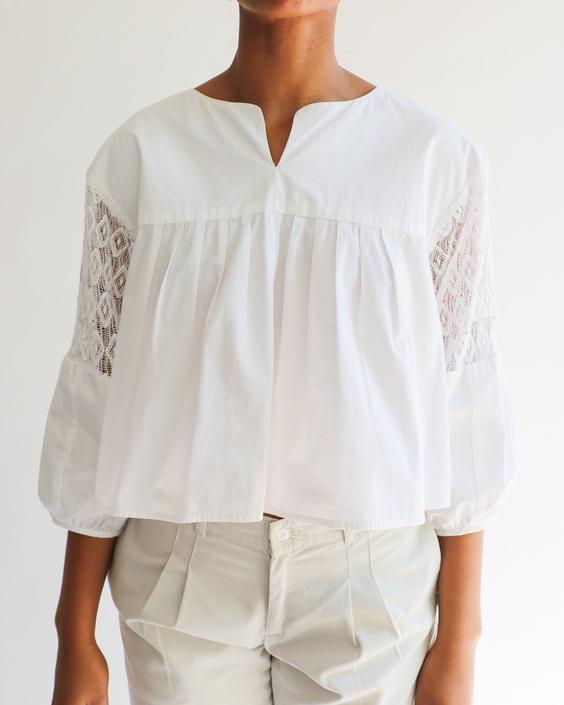 Apiece Apart Lace Trim Cotton Blouse, Size 8