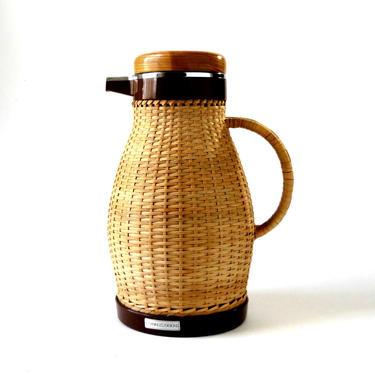 Vintage 80s CORNING Designs THERMOS CARAFE Tea Coffee Server Wicker Rattan Basket Weave Handle Glass Liner Mid Century Japan Ex Condition by FultonLane