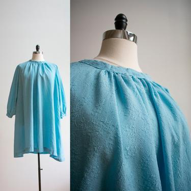 Plus Sized Vintage Dress / Vintage 1960s Trapeze Dress XL / Baby Blue Bubble Sleeves Dress / Blue 1970s Dress XXL / 70s Plus Size Tent Dress by milkandice