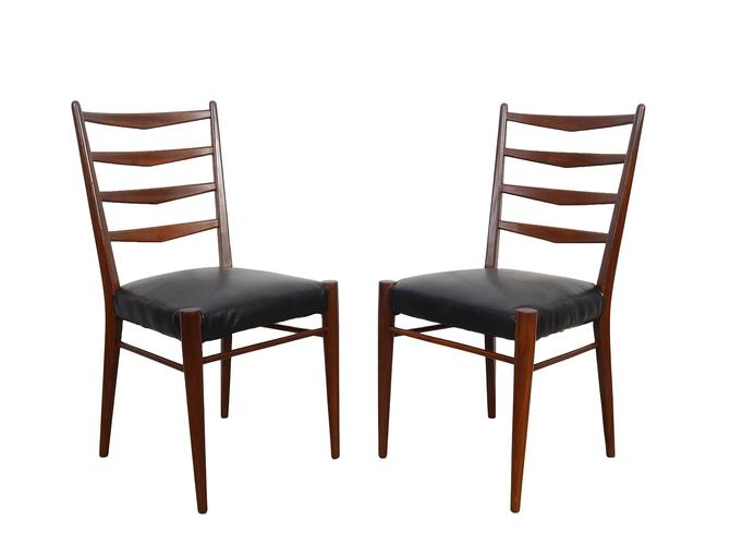 Cees Braakman for Pastoe Model ST09 Dining Chairs Black Leather Danish Modern by HearthsideHome