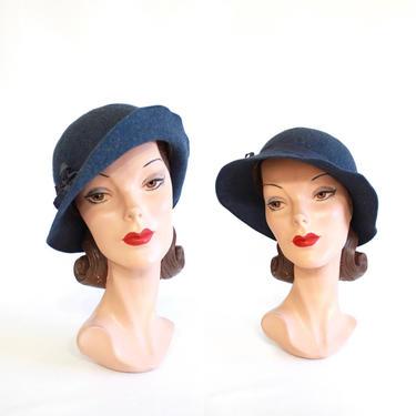 1930s Indigo Blue Flip Brim Slouch Fedora - 1930s Womens Fedora - 1930s Blue Hat - 1930s Womens Blue Hat - Vintage Blue Fedora by VeraciousVintageCo