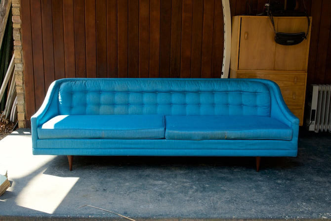 Blue Tufted William Hinn Selig Imperial Sofa Couch Vintage Mid-Century Modern American Design USA by BrainWashington