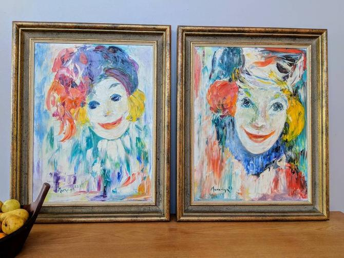 Pair of Mid Century Clown Female Jesters Abstract Oil Paintings by Mara-Lyn Needham by EimModern
