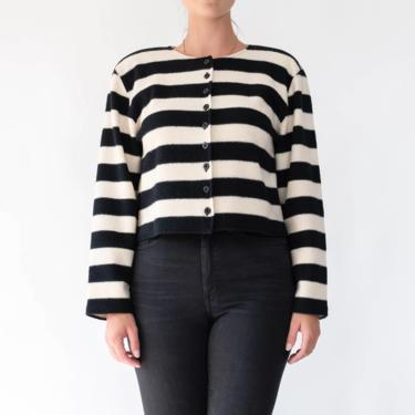Vintage 90s Jone New York Black & Ivory Striped Cropped Button Up Top   100% Wool   Boxy Fit   1990s Designer Drop Shoulder Cardigan Blouse by TheVault1969