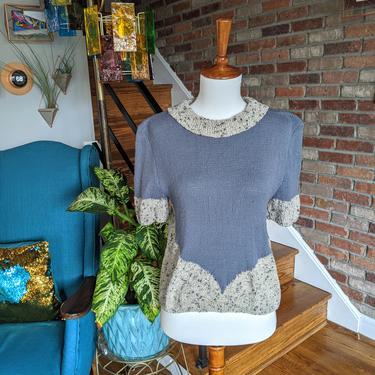 Vintage 1940-1950's Hand Knit Blue/Gray Short Sleeve Sweater by BeesKneesVintageDC
