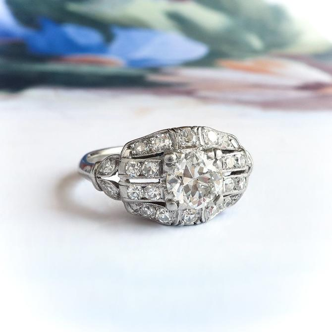 Art Deco Old Cut Diamond Engagement Anniversary Ring Platinum by YourJewelryFinder