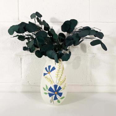 Vintage Floral Vase White Textured Pottery Handmade Holland Mold Flower Bud Vases Vanity Mid-Century Modern MCM Large Statement Egg Oval by CheckEngineVintage