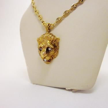 Vintage Gold Tone Roaring Lion's Head Rhinestone Detail Long Chain Necklace 1970s Disco Style Versace Inspired Leo Zodiac Astrology Gift by LazyDogAntiqueStore