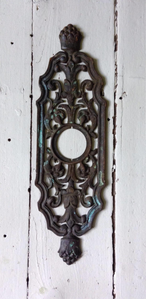 Large Vintage Brass Decorative Entry Door Back Plate By