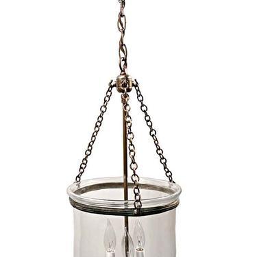 19th Century English Clear 10.5 in. Bell Jar Pendant Lantern
