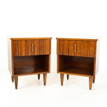 United Style Young Manufacturing Mid Century Walnut and Brass Nightstands - Pair - mcm by ModernHill