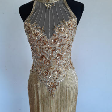 1980's Vintage GOLD sequin beaded dress, heavily embellished gold cocktail gown, flapper dress, gatsby dress, full length size xs 02 by ShopRVF