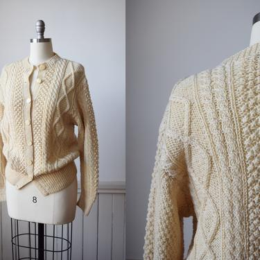 1960s Cable Knit Fisherman's Sweater / Cardigan | M | Vintage Irish Aran Sweater | Natural Wool Cardigan by wemcgee