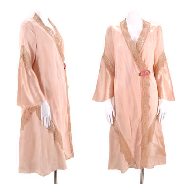 20s petal pink silk lace Deco robe / vintage lingerie flapper duster robe antique one size 1930s 1920s by ritualvintage