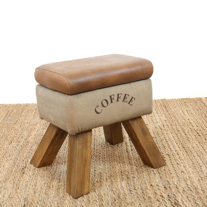 Coffee | Canvas and Leather Storage Stool