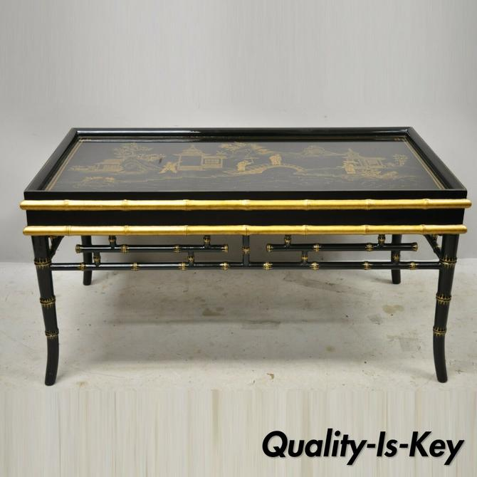 Maitland Smith Chinoiserie Faux Bamboo Black Lacquer Hand Painted Coffee Table