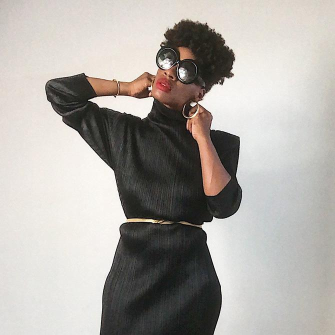 Vintage 1990s 2000s 00s Y2k Issey Miyake Dress Pleats Please Pleated Mock Neck Structured Japanese Midi Designer Black Minimalist Minimal XL by KeepersVintage