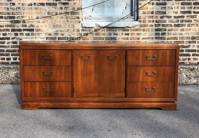 Available for Custom Refinishing//Vintage Campaign Credenza by Basset//Modern Media Console//Vintage Modern Dresser/Sideboard/Buffet by RavenswoodRevival