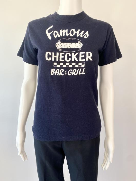Navy Famous Checker Bar & Grill Tee