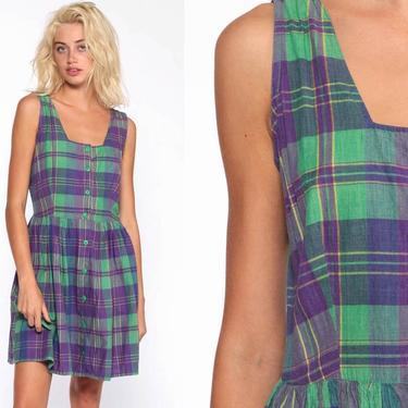 d77e0469e Added on November 30, 2018. Plaid Jumper Dress Green Purple Grunge Mini Dress  90s Button Up Pinafore Checkered 1990s Sleeveless Vintage ...