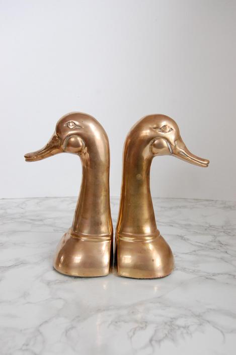 Large Brass Duck Bookends - Brass Duck Figure - Vintage Brass Bookend Mallards by PursuingVintage1